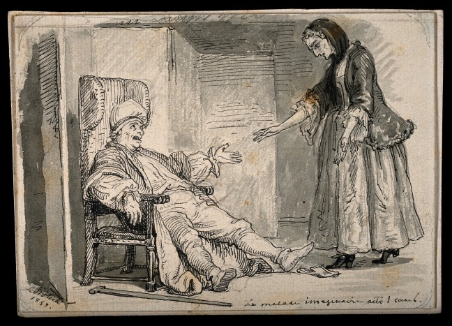 V0015124 Le malade imaginaire: Argan, a hypochondriac, complaining of Credit: Wellcome Library, London. Wellcome Images images@wellcome.ac.uk http://wellcomeimages.org Le malade imaginaire: Argan, a hypochondriac, complaining of his ailments to his nurse. Pen and ink drawing by L. Frölich, 1859. 1859 By: Lorens Frölichafter: Jean-Baptiste Poquelin de MolièrePublished: 1859  Copyrighted work available under Creative Commons Attribution only licence CC BY 4.0 http://creativecommons.org/licenses/by/4.0/